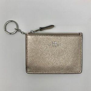 COACH Mini Card Skinny Keychain ID Wallet Platinum